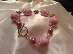 Polymer clay, and shell pearl bracelet