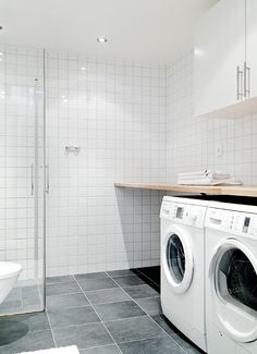 combined bathroom/laundry ? (move w/d against end wall, add shelf for 4 laundry baskets or deep sink in open space on the other end, drying racks on wall, add window OR pass-thru to closet)