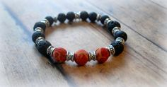 Use code PIN10 for 10% off Rustic, Natural Sponge Coral, Black Lava Rock, Silver, Textured, Stretch Bracelet by Cheshujewelry