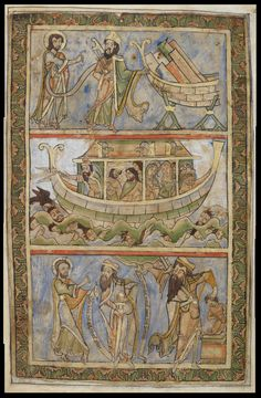 eadfrith:  The Winchester Psalter - folio 3r Top pane, Noah is commanded to build the Ark, middle pane shows the Ark at sea, bottom pane sho...