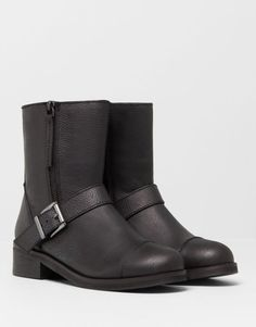 Pull&Bear - footwear - boots and ankle boots - leather ankle boots with zips - black - 11060011-V2015