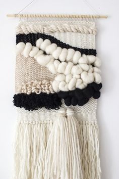 Woven wall hanging | Woven tapestry | Wool wall weaving | Wall art tapestry | Scandi wall decor | Scandinavian style | White, black weaving