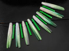 Clothespin Necklace - green & white & green beads, reflections. Page McNall