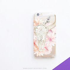 Clear TPU Case Cover Boho Floral Bull Skull – Milkyway