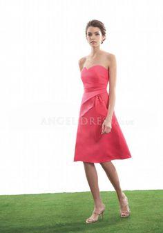 Sweetheart Satin A line Asymmetric Waist Knee Length Bridesmaid With Ruching