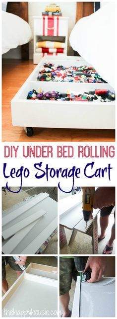 Tackle your lego storage issues with this DIY Under Bed Rolling Lego Storage Cart Lego Storage, Storage Cart, Storage Ideas, Rolling Storage, Rolling Carts, Storage Boxes, Small Bedroom Organization, Home Organization, Living Room Storage