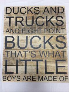 Ducks Trucks and Bucks pallet sign by CutItOutCC on Etsy - diy pallet creations Pallet Crafts, Pallet Art, Diy Pallet Projects, Pallet Signs, Wood Crafts, Wood Projects, Woodworking Projects, Woodworking Plans, Pallet Ideas