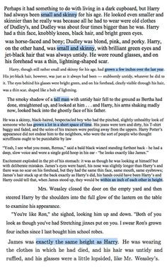 """Quotes about Harry and James' heights in Books 1-7. Harry was short in books 1-3, then grew to the same height as James, who is always described as """"tall and thin."""""""