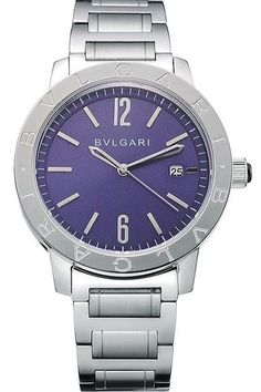 Buy Replica Bvlgari Solotempo Purple Dial BVLGARI Engraved Brushed Stainless Steel Bezel Watch With Polished Stainless Steel Bracelet