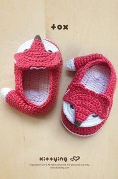 Crochet Pattern Fox Baby Booties Fox Preemie Socks Fox Applique Foxy Baby Slippers Crochet Pattern F on Luulla Booties Crochet, Crochet Shoes Pattern, Newborn Crochet, Crochet Baby Booties, Crochet Slippers, Crochet Patterns, Knitting Patterns, Shoe Pattern, Crochet Hats