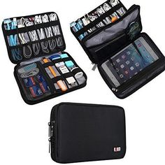 BUBM Double Layer Travel Gear Organizer Travel Electronics Accessories Bag Medium Black >>> Details can be found by clicking on the image. Packing Tips, Travel Packing, Travel Luggage, Travel Backpack, Luggage Backpack, Luggage Packing, Backpack Bags, Camera Accessories, Travel Accessories