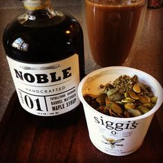 Yoghurt,granola and barrel-aged maple syrup. #la #breakfast #home #siggis #noble #noblemaple #pepitos #granolla #secretsquirrel #tuthilltownbourbon #tuthilltown
