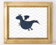 Dragon Print 8x10 Instant Download Dragon Nursery Printable Art Mystical Creature Fairytale Nursery Art Nursery Decor Chevron Print Navy