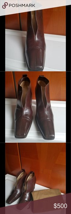 9efb1b953b6 Gucci calf leather rich brown color ankle boots Simply stunning my  girlfriend shoes wish they were