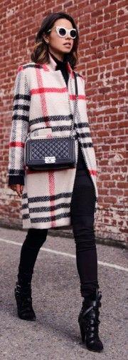 winter coat, tartan, blogger, red lime sunday, black boots, viva luxury, cat eye