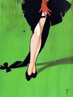 "Illustration by René Gruau ""Les Bas Christian Dior"". Illustration Mode, Fashion Illustration Vintage, Posters Vintage, Vintage Ads, Vintage Dior, Retro Ads, Vintage Couture, Vintage Lingerie, Vintage Style"