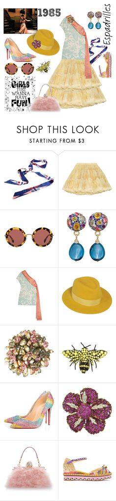 """""""GIRLS JUST WANNA HAVE FUN"""" by tinagarrison ❤ liked on Polyvore featuring RED Valentino, Miu Miu, Margot McKinney, Jonathan Saunders, Maison Michel, Gucci, Christian Louboutin, Ciner and Dolce&Gabbana"""