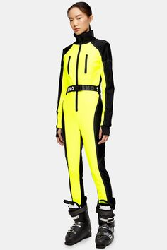Womens **Neon Yellow Fitted Ski Snow Suit By Topshop Sno - Fluro Yellow Best Ski Jacket, Best Ankle Boots, Ski Fashion, Sporty Fashion, Fashion Women, Winter Fashion, Fashion Trends, Trend Fabrics, Topshop