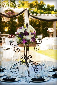 centerpieces rod iron with candels