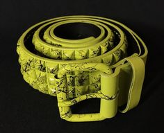 Studded Belt Yellow Black Splatter Grunge Rock Emo Goth Punk  | eBay
