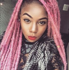 Thinking of getting yarn dreads? If you're looking for yarn locs inspiration then check out these 40 chic, beautiful and most popular yarn dreads styles. Dreads Styles, Curly Hair Styles, Natural Hair Styles, Black Girl Pink Hair, Purple Hair, Black Hair, Chunky Box Braids, Yarn Dreads, Hair Yarn