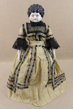 """17"""" antique German china shoulder head lady Doll in antique dress"""