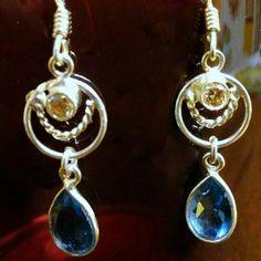 Sterling Silver Citrine Blue Topaz Earrings Dainty Sterling Silver Citrine Blue Topaz Dangling Earrings. Very simple but cute! Sterling Silver  Jewelry Earrings