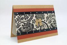 $5.00 Handmade Damask Card Greeting Card Blank by AmeliaRyCreations