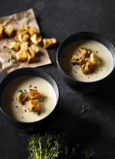 Celeriac and cheddar soup with thyme croutons: This delicious, warming celeriac and cheddar soup is a meal in a bowl. Served with crunchy thyme croutons, it makes the perfect lunch or lighter dinner. It's under 300 calories, too, making it perfect for a midweek meal