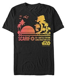 Star Wars Rogue One Scarif Sunset Adult T-shirt - Black (Large)