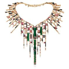 Chow Tai Fook Mondrian-inspired Les Blocs de Fantaisie gold necklace set with green tourmaline, rubies, sapphires, diamonds and chalcedony.