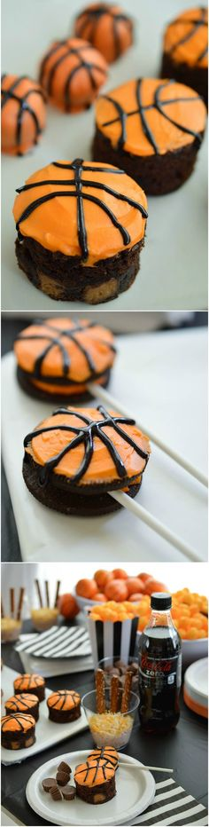 Basketball Party Ideas for your B-ball themed celebration. Cheer on your favorite team while enjoying this Basketball decor and fun desserts! Party planning can be easy with Peanut Butter Cup Brownies, OREO Truffles and OREO Pops! #UnbelievableMoments #Ad