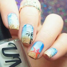 "If you're unfamiliar with nail trends and you hear the words ""coffin nails,"" what comes to mind? It's not nails with coffins drawn on them. Although, that would be a cute look for Halloween. It's long nails with a square tip, and the look has. Beach Nail Art, Beach Nail Designs, Nail Art Designs, Nail Art Ideas For Summer Beach, Blog Designs, Beach Ideas, Nails Design, Nagellack Trends, Nail Decorations"