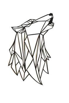 Loup Papercut Art original : 7x5.5 géométrique papier original hurlant tête de loup, noir découpé art mural, silhouette design moderne triangulaire 2D