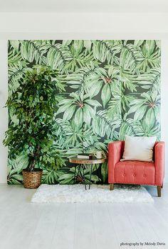 Feuille de bananier - Grande murale, aquarelle peinture murale, papier peint Martinique, 100