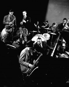 Count Basie, Lester Young, and other jazz greats at Gjon Mili's Studio in New York, 1942.
