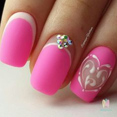 46 Trendy nails pink matte makeup looks Trendy Nail Art, Cute Nail Art, Neon Nails, Blue Nails, Romantic Nails, Nail Time, New Nail Designs, Manicure Y Pedicure, Fancy Nails