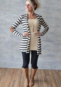 White Striped Print Long Sleeve Slim Fashion Stylish Cardigan Sweater  A got to get !!