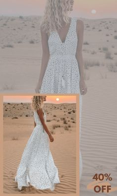 White Flowy Deep V Neck Polka Dot Pattern Polyester Boho Maxi Dresses on Sale at VEDACHIC, free shipping on orders over $49, register now to get 8% off! #vedachic #maxidresses  #bohodresses