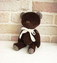 Vintage Teddy Bear Brown Velvet by sistersdreams on Etsy, £22.00
