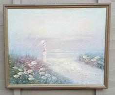 Vintage Original Oil On Canvas Painting Signed Lady Parasol Beach Scene Seaside