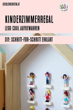 Lego is in every child's room: with the cool DIY shelf it becomes an eye-catcher! Lego and Legofriends figures now decorate the wall until the next use! Diy Lego, Childrens Room, Lego Boxes, Lego For Kids, Thanks Card, Lego Storage, Room Shelves, Cool Diy, Floating Shelves
