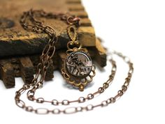 Antique Button Necklace Victorian Jewelry Copper by ChatterBlossom