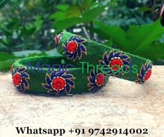 These bangles are made of rich hand embroidery on pure raw silk fabric.Colors and sizes can be customised as per your requirement. For orders more details please whatsapp +91 9742914002 Category - Designer bangles, Zardosi bangles, Maggam work bangles, Party wear bangles, Bridal bangles Sizes Available - 1.14 to 2.12