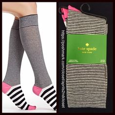 Kate Spade Tall Knee High Boot Socks  NEW WITH TAGS    Kate Spade Tall Knee High Boot Socks   * Super soft & comfortable fabric   * Opaque Knit construction (not sheer).   * Stretch-to-fit   * One size fits most; Pull on & to the knee style   Fabric: 67% Cotton, 31% Polyester & 2% spandex; Machine wash Item:91900 Color: Black, white & Pink combo   No Trades ✅Bundle Discounts✅ kate spade Accessories Hosiery & Socks