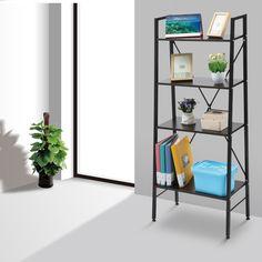 langria leaning bookshelf ladder shelf storage rack steel frame home office use adjustable feet x black walnut
