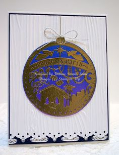 Stampin' Up! Wonderful Blessing handmade ornament Christmas card