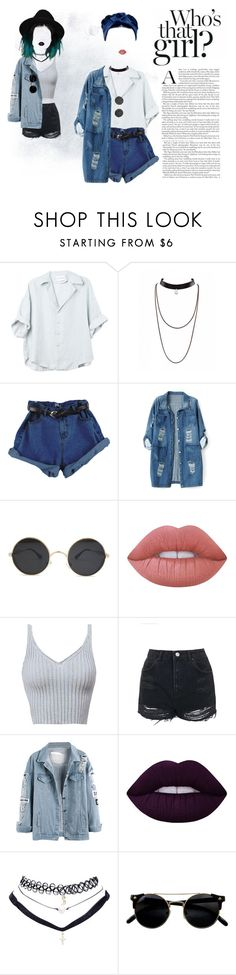 """""""Demin"""" by mickie-pcosta ❤ liked on Polyvore featuring Chicnova Fashion, Lime Crime, Topshop and Wet Seal"""