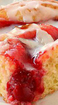 Glazed Cherry Coffee Cake ~ It is made with a cake mix and cherry pie filling... It's moist, soft and full of cherry flavor - The perfect easy treat!