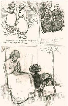 Three Studies Vincent van Gogh Drawing, Pencil Auvers-sur-Oise: 1890 #Vincent #vangogh #drawing